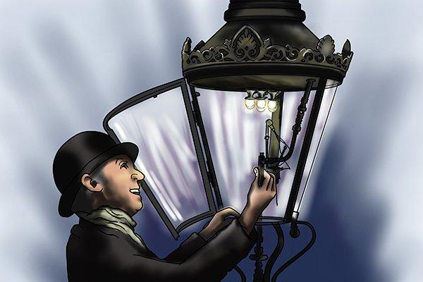 Victorian man lighting a gas lamp in a London street near Big Ben