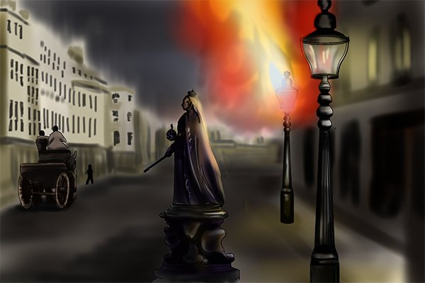 Victorian gas lamp with flames shooting out