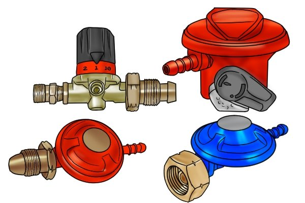 Four different types of gas regulators