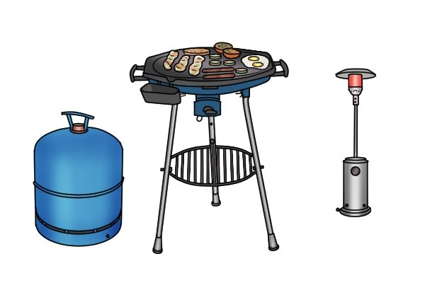 Patio heater, Campingaz cylinder and gas-fired barbecue with food on it