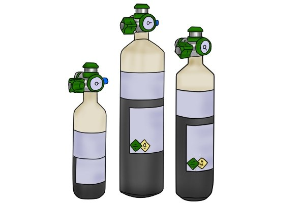 Picture of three oxygen cylinders