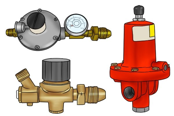 Picture of 3 different high pressure gas regulators