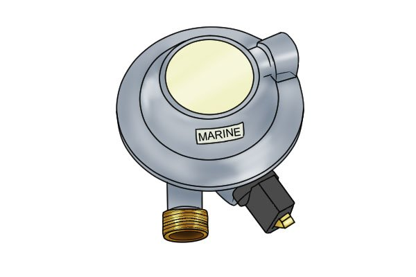 Clip-on marine gas regulator
