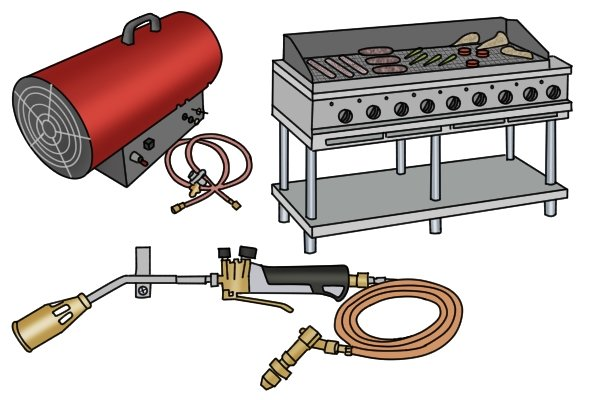 Roofing kit, large outdoor grill and space heater