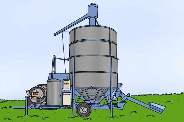 Mobile grain dryer in field with gas cylinder