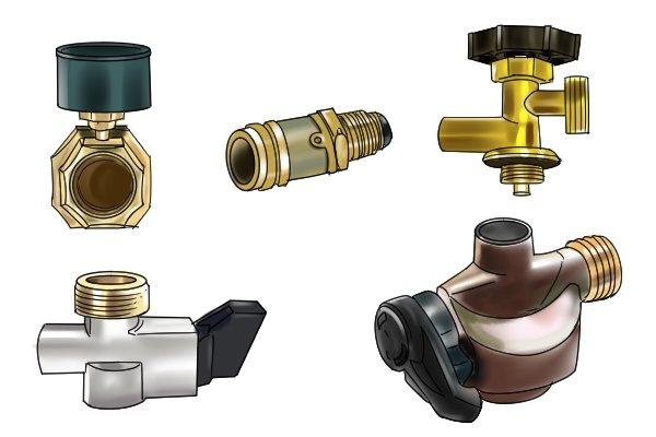 Five different shaped gas regulator adaptors