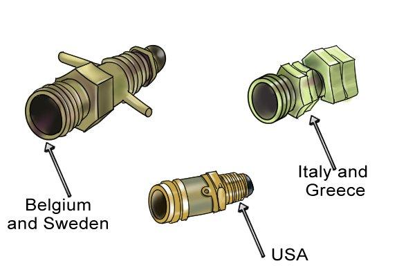 Three foreign gas regulator adaptors