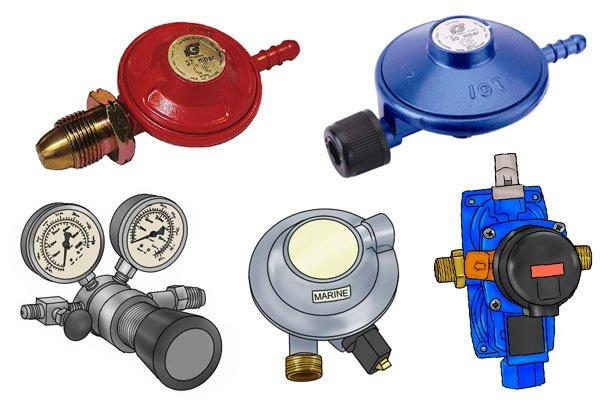 Five different types of gas regulator