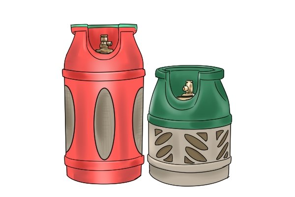Two translucent gas cylinders