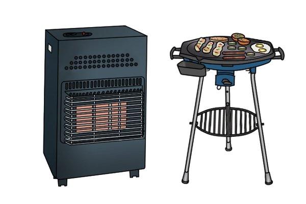 Portable butane heater and small barbecue with food