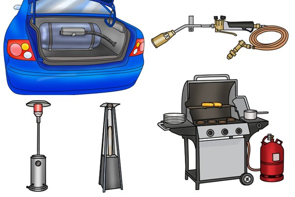 Patio heaters, gas torch, gas-powered car and gas barbecue with propane cylinder