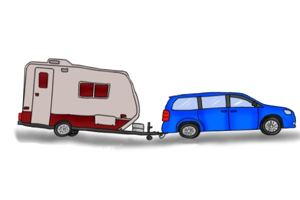 Heavy caravan tilted downwards being towed by a car