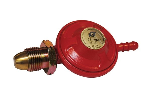 Red propane regulator with bullnose screw-on fitting