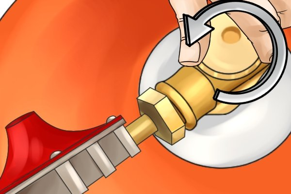 Switching gas back on by turning valve handwheel anti-clockwise