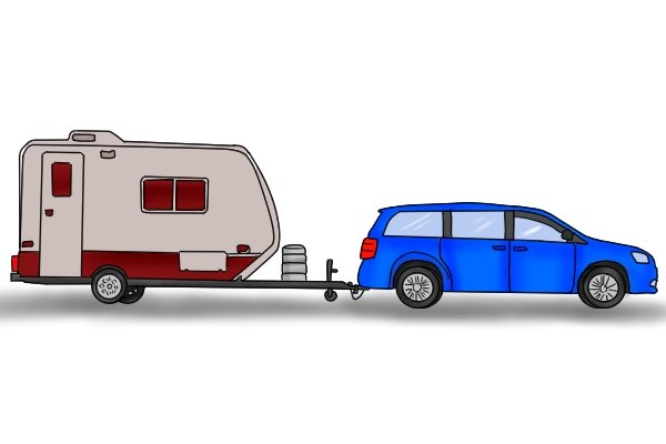 Caravan being towed by car