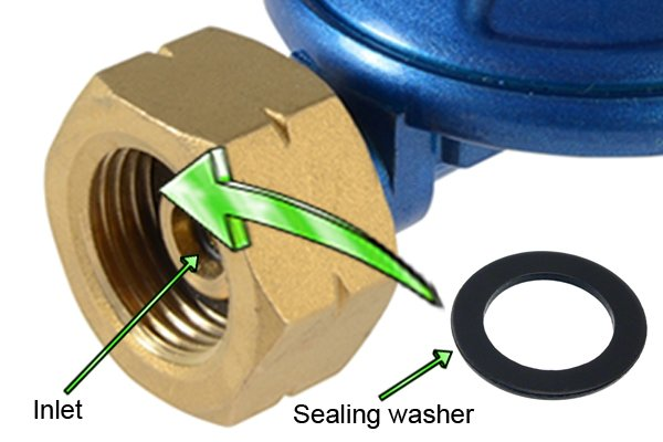 Close-up of bolt-on regulator inlet and inset sealing washer