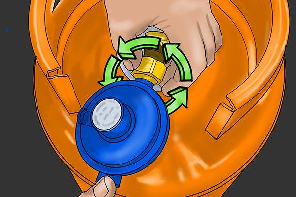 Tightening regulator nut anti-clockwise round cylinder valve