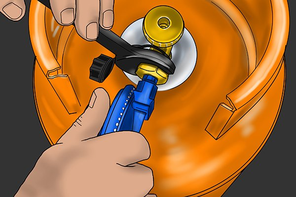 Tightening up regulator nut with a spanner