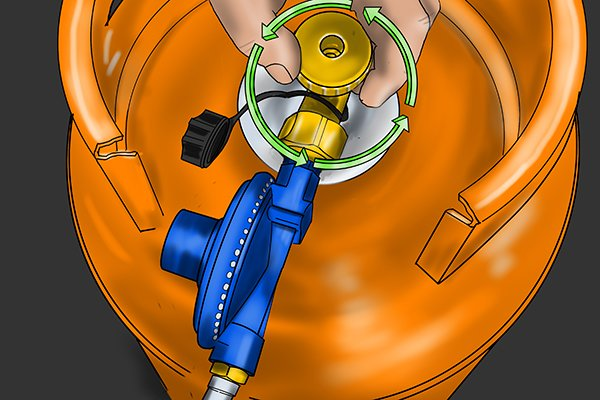 Turning cylinder valve handwheel anti-clockwise to switch on gas