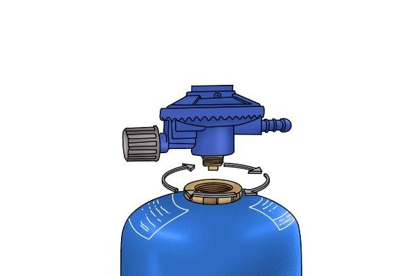 Screw regulator into cylinder valve thread until it's tight