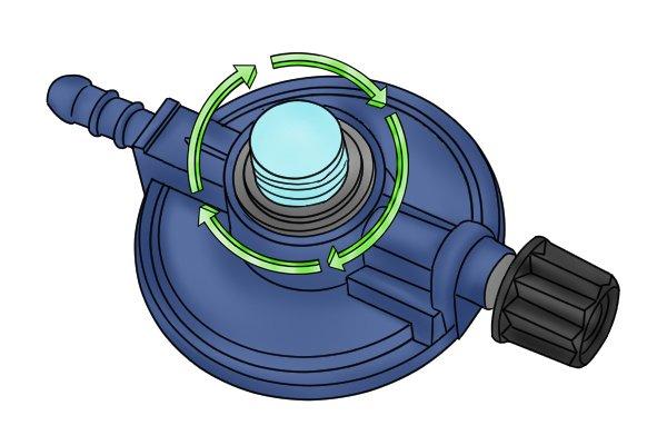 Turning dust cap clockwise to put back on regulator