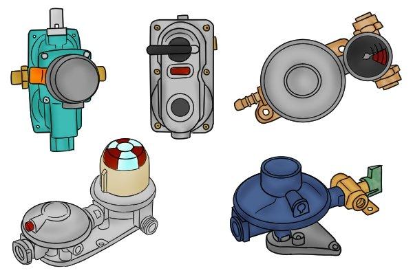 Five different changeover gas regulators