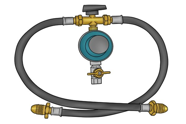 Manual changeover gas regulator with hose