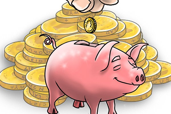 Coins being fed into money pig equalling saving money