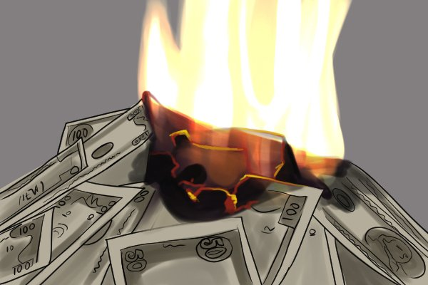 Money being burnt, equalling wasting cash