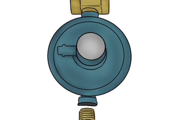 Close-up of red propane regulator on manual changeover system