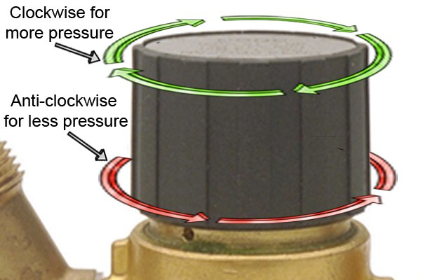 Close-up of high pressure regulator adjustable control knob