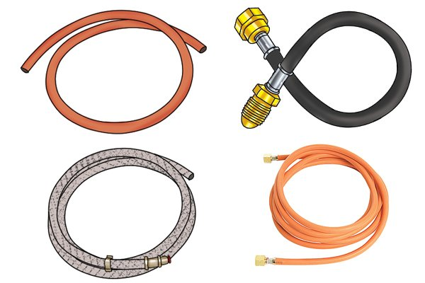 Four different gas hoses - low pressure, high pressure, pigtail and silver