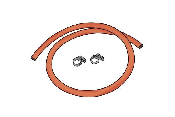 Orange low pressure gas hose with clipe