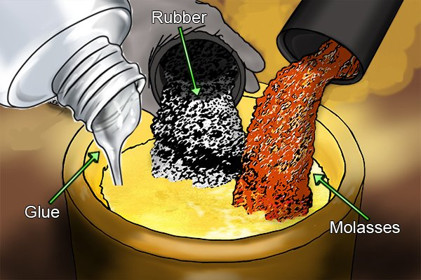 Mixing glue, molasses and rubber to make hose