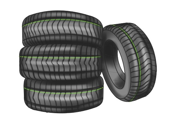 Pile of rubber tyres