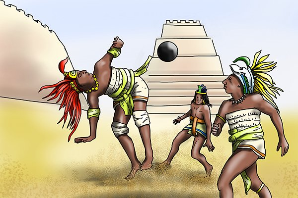 Olmec tribespeople playing ballgame with rubber ball in ancient arena