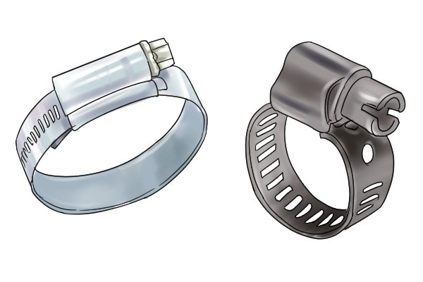 Two gas hose clips with and without perforations