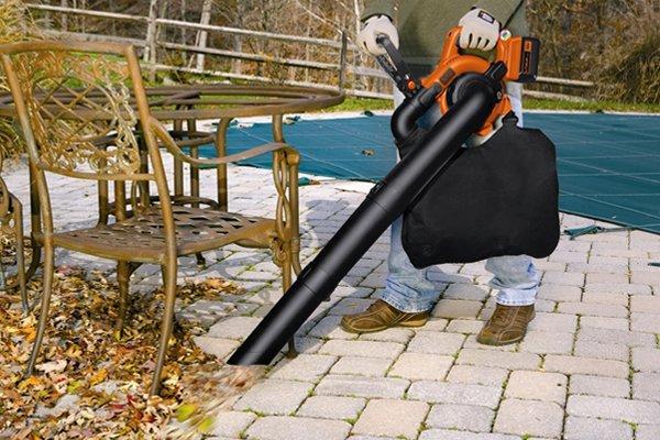 Using blower vacuum around patio furniture