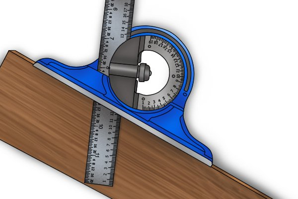 A blue protractor head being used to set the angle of the rule; combination square set, ruler, blade