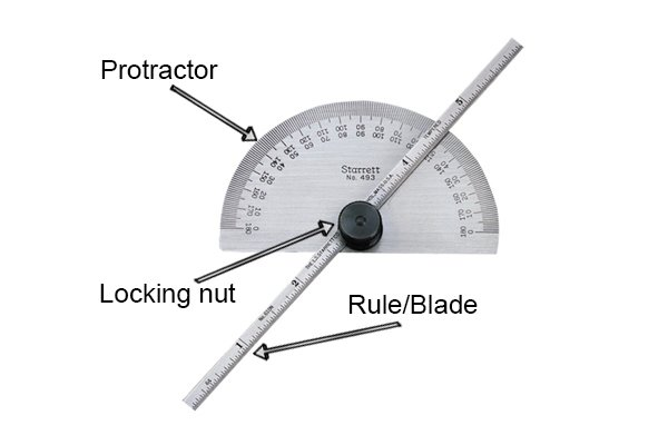 Top: Protractor; middle: Locking nut; bottom: Rule/Blade; Starrett, protractor and depth gauge
