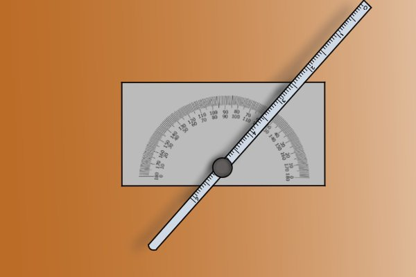 A square protractor and depth gauge