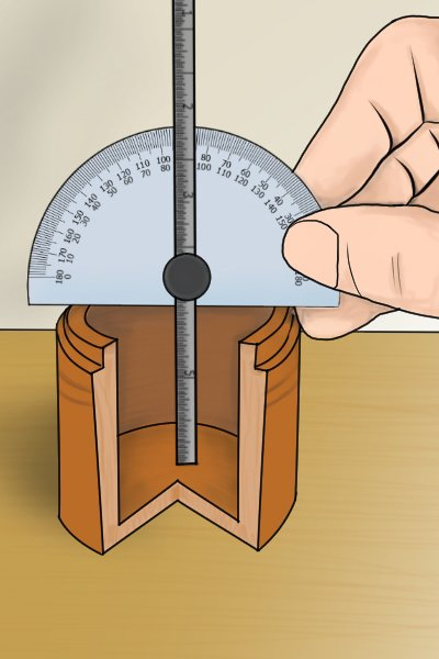 Protractor with depth gauge being used to measure the depth of an object