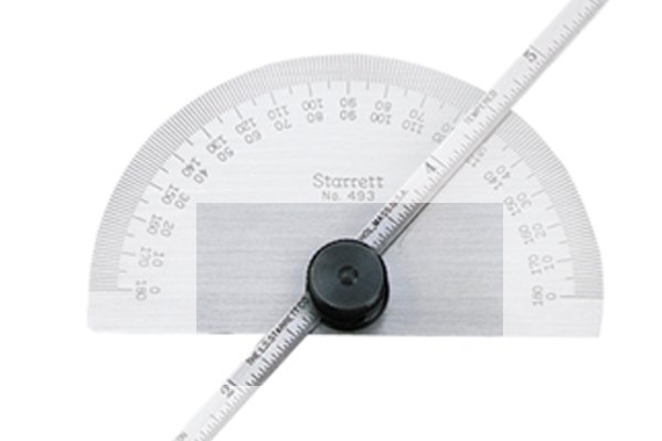 The locking nut; protractor and depth gauge, rule, ruler