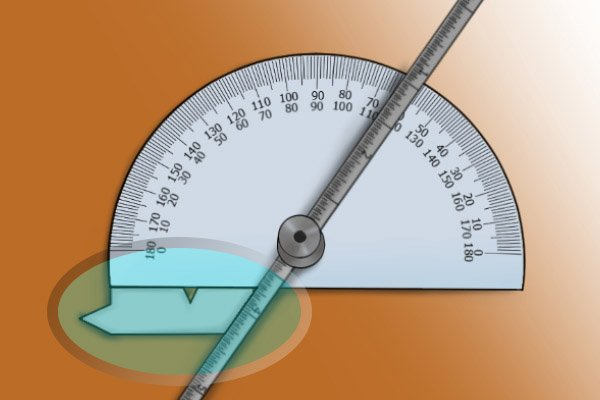 Lining an object against the bottom of the protractor; protractor and depth gauge, rule, ruler, blade
