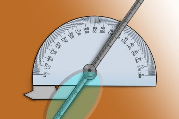 The rule needs to line up with the other side of the angle; protractor and depth gauge, rule, ruler, blade