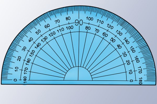 A protractor showing that only every tenth number is shown; blue, semi circle, protractor 180 degree
