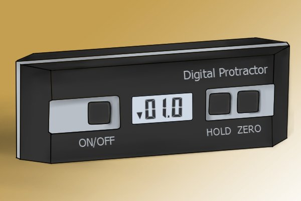 "A digital protractor/angle gauge with three buttons: ""on/off"", ""hold"" and ""zero"""