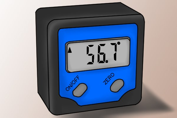 """A digital angle gauge with two buttons; """"on/off"""" and """"zero""""; liquid crystal display, magnets"""
