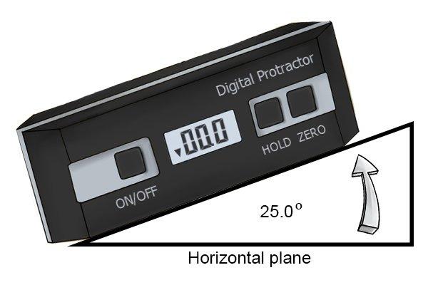 The relative measurement mode during use; digital protractor, digital angle gauge