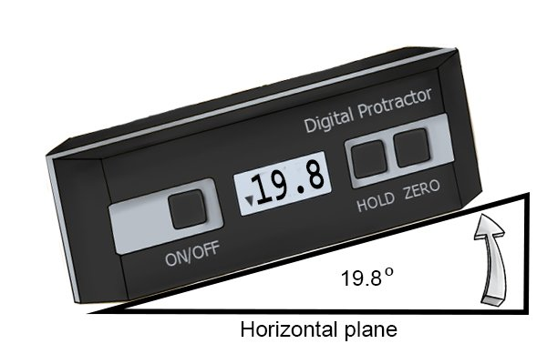 "Measuring an angle in ""horizontal measurement mode""; digital protractor/digital angle gauge"